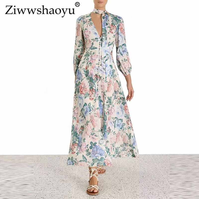 Ziwwshaoyu vacances v-cou imprimer longues robes élégantes ceintures manches bouffantes robe à boutonnage unique nouvelles femmes