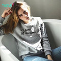TAOVK Russian style design new 2016 women Autumn/Winter sweatshirt Gray long sleeve letter embroidery pullover sweatshirts