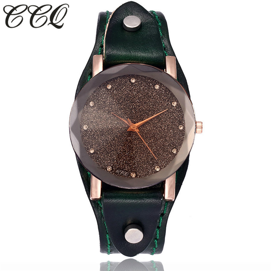 CCQ Brand New Fashion Vintage Cow Leather Bracelet Watches Casual Simple Style Women Men Quartz Wristwatches Relogio Feminino 2017 ccq brand vintage cow leather eiffel tower watch casual women men leather quartz wristwatches clock montre femme hot sale