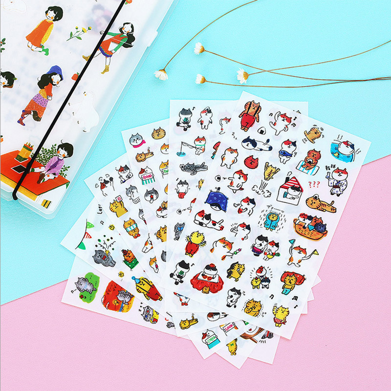 6 sheets/lot Cartoon cute kitten paper sticker DIY scrapbooking diary album sticker post stationery school supplies