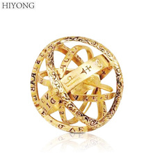 HIYONG 2019 Classic Vintage Style Ball Shape Ring Jewelry Gold Color Elegant Copper Korean For Women Wedding Gift