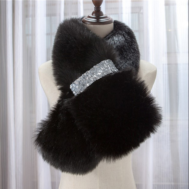 Newest Winter Faux Fox Fur Collar   Scarf   Shawl neck Collar Women's   Wrap   Stole   Scarves   shrug for party wedding Christmas gift