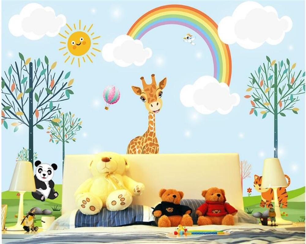US $8 85 OFF Beibehang Papel De Parede 3D Wallpaper Lucu Dan Modis Wallpaper Sutra Hewan Anak Anak Laki Laki Dan Perempuan Kamar Latar Belakang