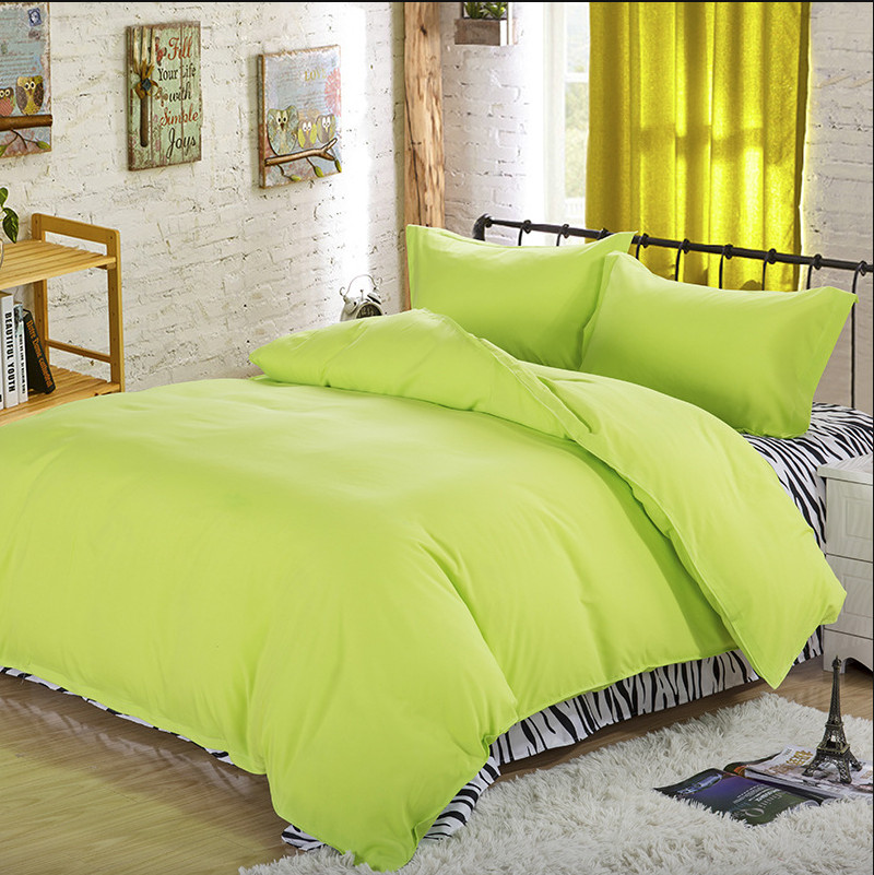 Brushed cotton Aloe Printing Bedding Set Fashion Bed Sheet / Duvet Cover / Pillowcase Winter Cotton 4 Pcs Bed Set Home Textile