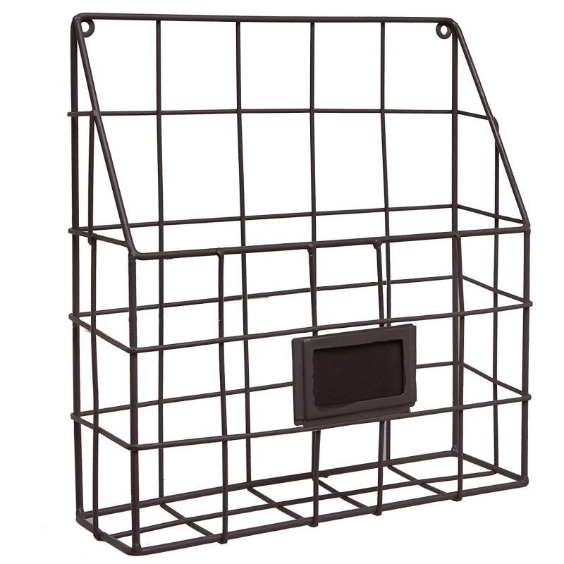 Us 41 0 Metal Wire Wall Magazine Rack Bin Newspaper Mounted Mail Sorter With Chalkboard Label In Bookcases From Furniture On