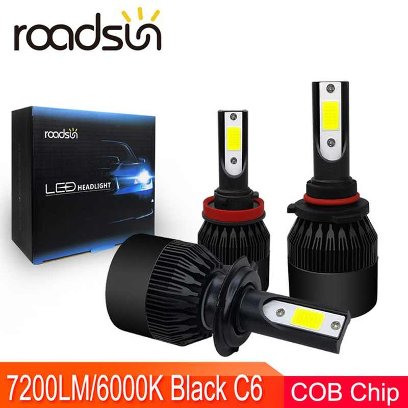 roadsun Auto Accessories C6 Headlight LED H7 H4 H1 H11 9005 9006 HB4 HB3 LED Light Bulb 7200LM  6000K 72W Car Styling Lighting