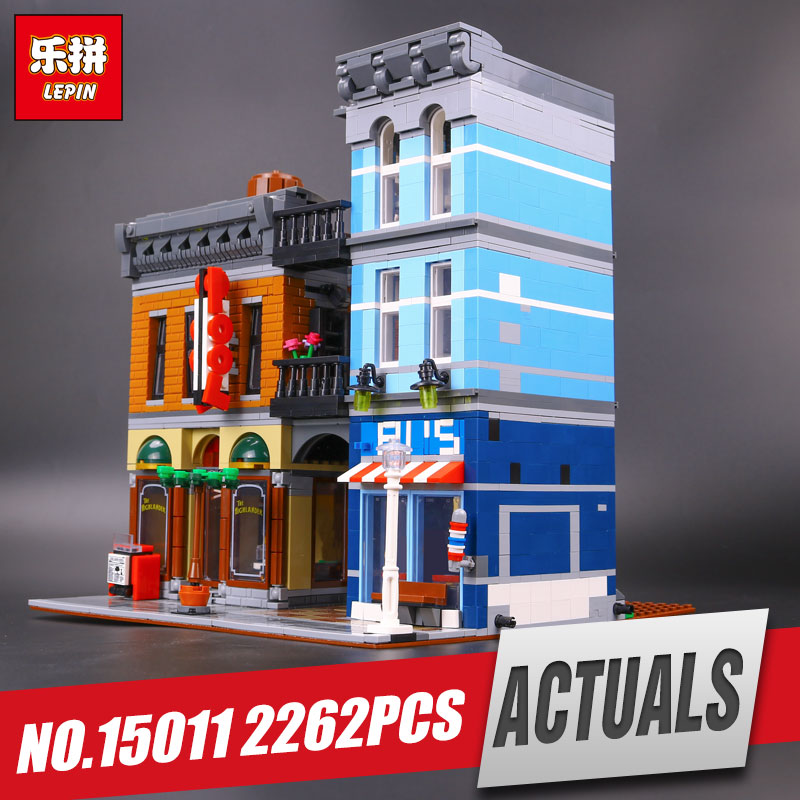 LEPIN 15011 2262Pcs City Street Detective's Office Model Building Kit Blocks Bricks Compatible Funny Toy 10246 for children gift lepin 15009 city street pet shop model building kid blocks bricks assembling toys compatible 10218 educational toy funny gift
