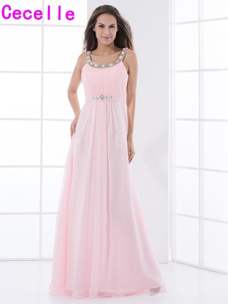 Rosa Chiffon Lange Brautjungfer Kleider Mit Straps Perlen