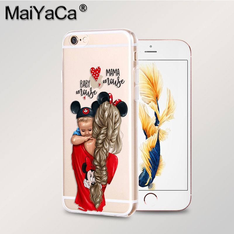 MaiYaCa black girl Queen Mom and baby New Arrival Fashion phone case cover for iPhone 8 7 6 6S Plus X 10 5 5S SE XS XR XS MAX in Half wrapped Cases from Cellphones Telecommunications