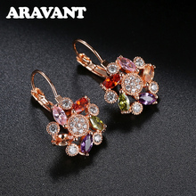 New Brand Zirconia Crystal Flower Drop Earrings For Women Fashion Wedding Jewelry