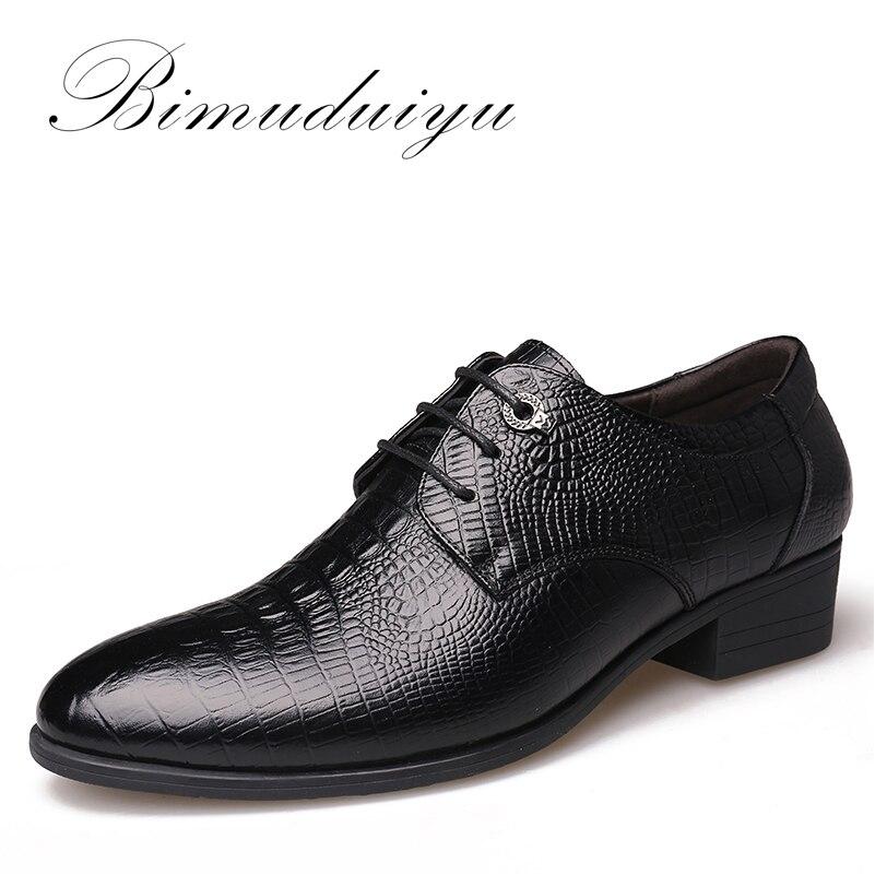 BIMUDUIYU Crocodile Style Men Business Dress Shoes Genuine Leather Breathable Oxford Shoes Fashion Pointed Toe Men