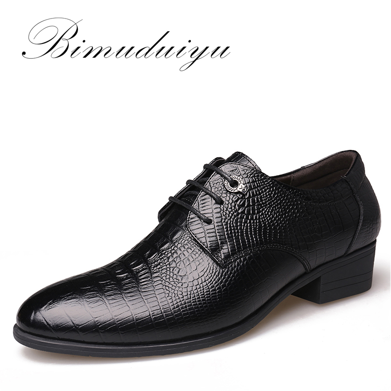 BIMUDUIYU Crocodile Style Men Business Dress Shoes Genuine Leather Breathable Oxford Shoes Fashion Pointed Toe Men Flats Wedding