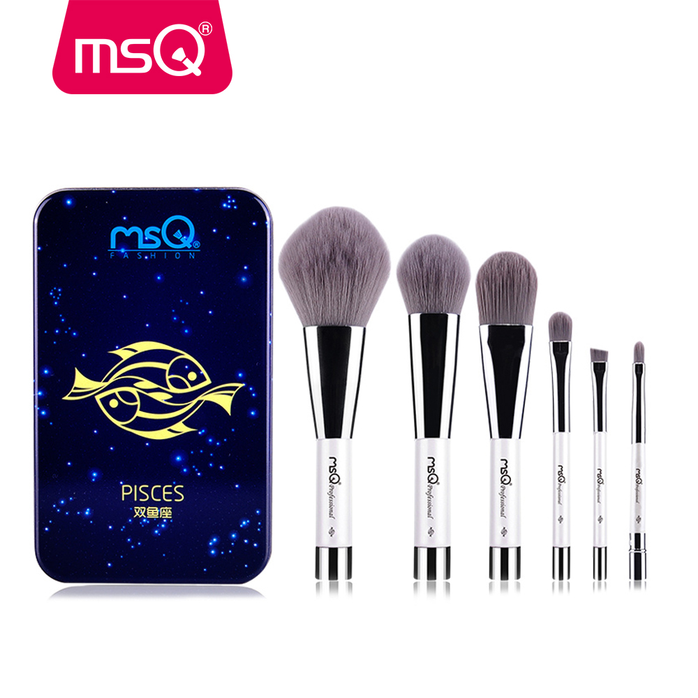 MSQ 6pcs Makeup Brushes Set Synthetic Hair Portable Make Up Brush Short Handle 12 Constellation Series With Magnetic Case msq 15pcs professional makeup brushes set foundation fiber goat hair make up brush kit with pu leather case makeup beauty tool