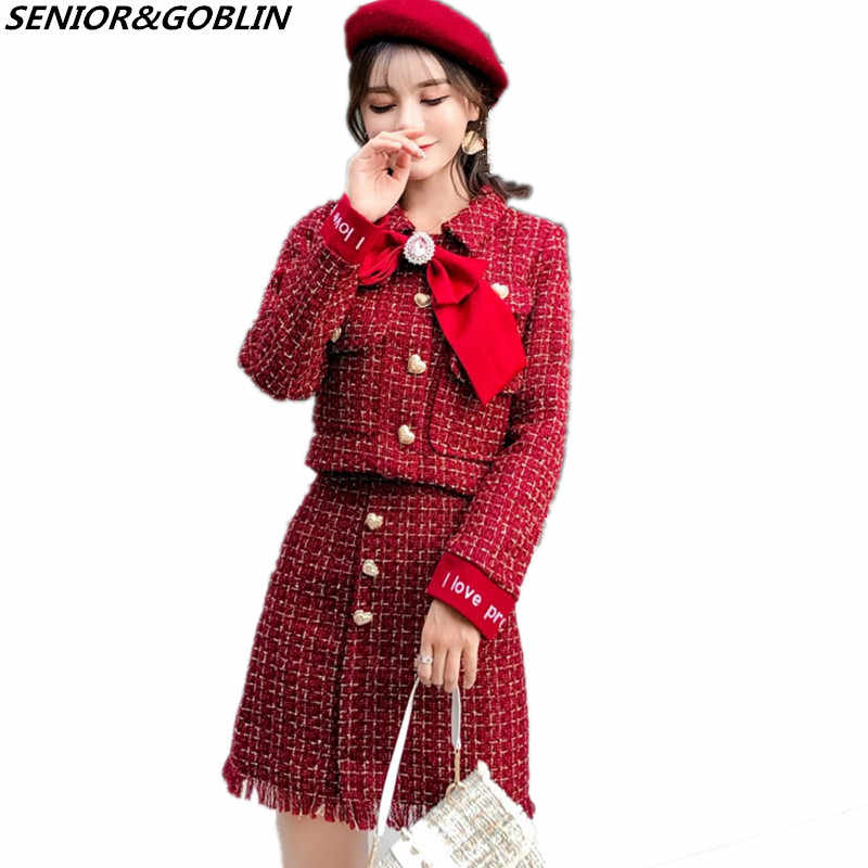 6c65eee743 Detail Feedback Questions about Newest Autumn Gold Love Button Pocket Red  Tweed 2 Piece Set Winter Women Diamonds Bowknot Short Jacket Coat+Tassel  Pencil ...