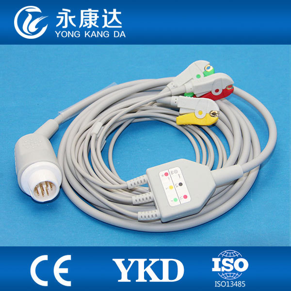 Mindary 12Pin 3leads ECG cable and leadwires with Clip,IEC,,CE&ISO13485