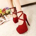 Women shoes high heels zapatos mujer 2016 hot hasp suede sexy high heels woman shoes pumps