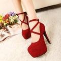 Women shoes tacones altos zapatos de mujer 2016 hot cerrojo suede sexy tacones altos zapatos de mujer bombas