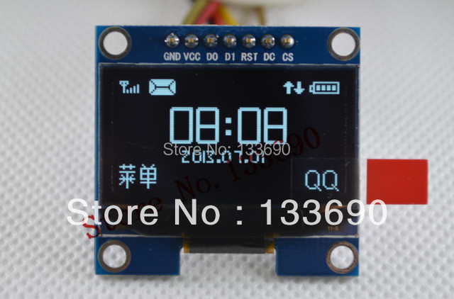 1PCS 1.3 inch 128X64 OLED module white on black 3-wire SPI 4 wire SPI IIC interface driver SH1106