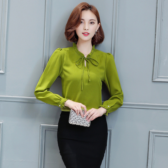 2017 Spring Autumn New Women Blouse Chiffon Long Sleeve O Neck Bow Slim Elegant Fashion Office Blouse Shirt B8267