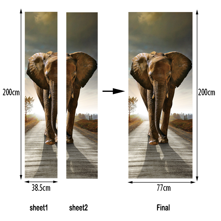 77*200cm smooth door styling Animal stickers Elephant 3d wall art ...