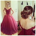Puffy A Line Long Evening Dresses with Bow Sash Lace Appliqued Bodice Off Shoulder Tulle Backless Prom Dress Maroon Party Gowns