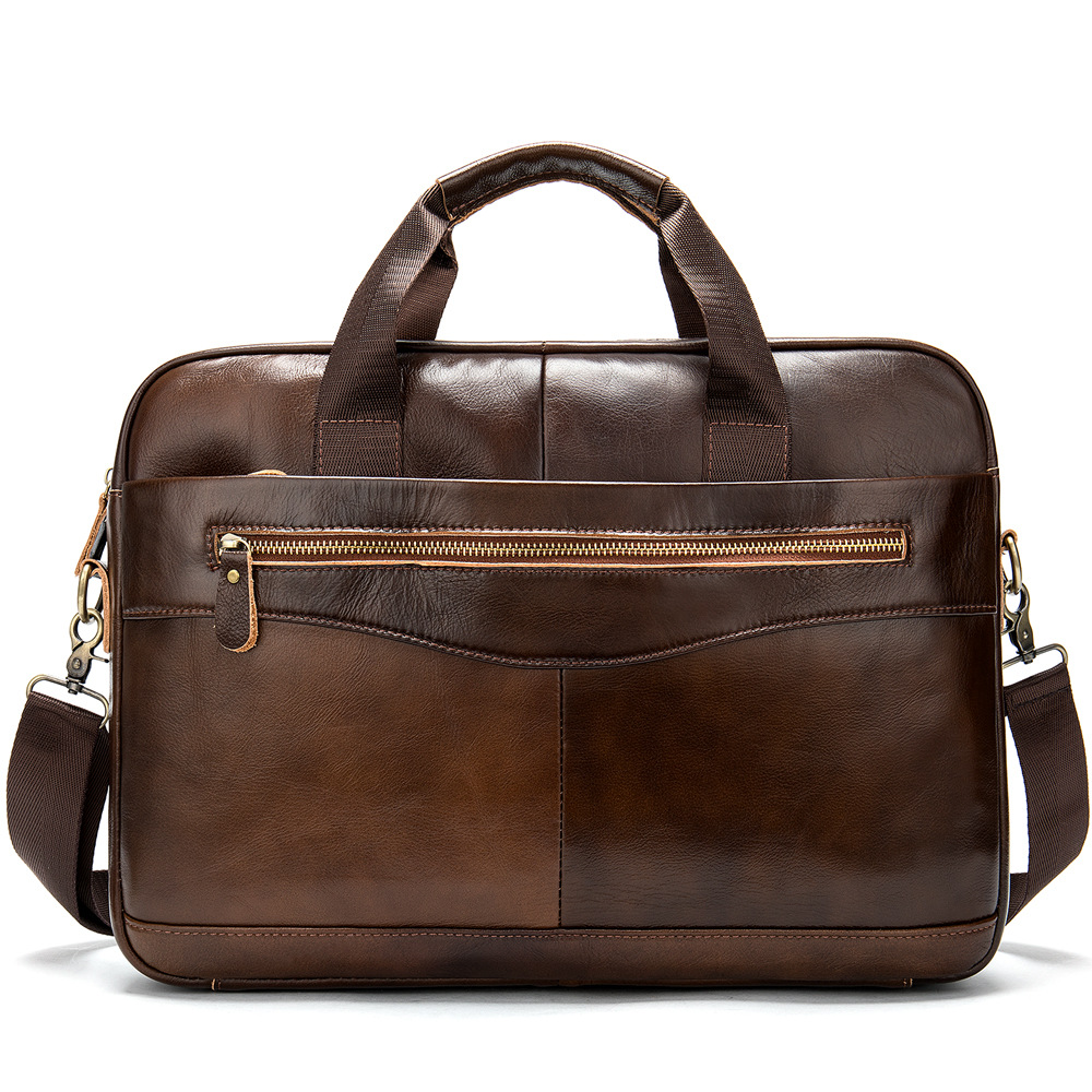 New Vintage 100% Cow Genuine Leather Business Men's Briefcase Male Shoulder Bag Real Leather Men Messenger Bag Tote Computer Bag