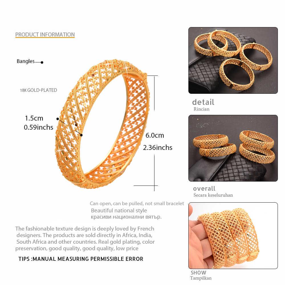 WANDO 1 יחידות זהב צבע דובאי חתונה צמיד לנשים אופנה צמידים רחבים ערבי אפריקאי ערבית סגנון יכול לפתוח תכשיטים giftsB183