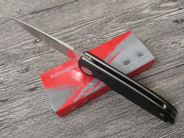 JohnnyJamie marka Persici 1010B czarny G10 uchwyt D2 ostrze ze stali łożysko kulkowe składany nóż do przetrwania Camping taktyczne narzędzia
