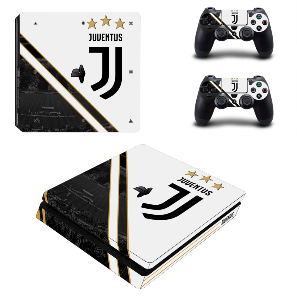 Juventus Football Club PS4 Slim Skin Sticker For PlayStation 4 Console and Controllers For Dualshock 4 PS4 Slim Sticker Decal cool car style game console and handle protection stickers skin decal for ps4