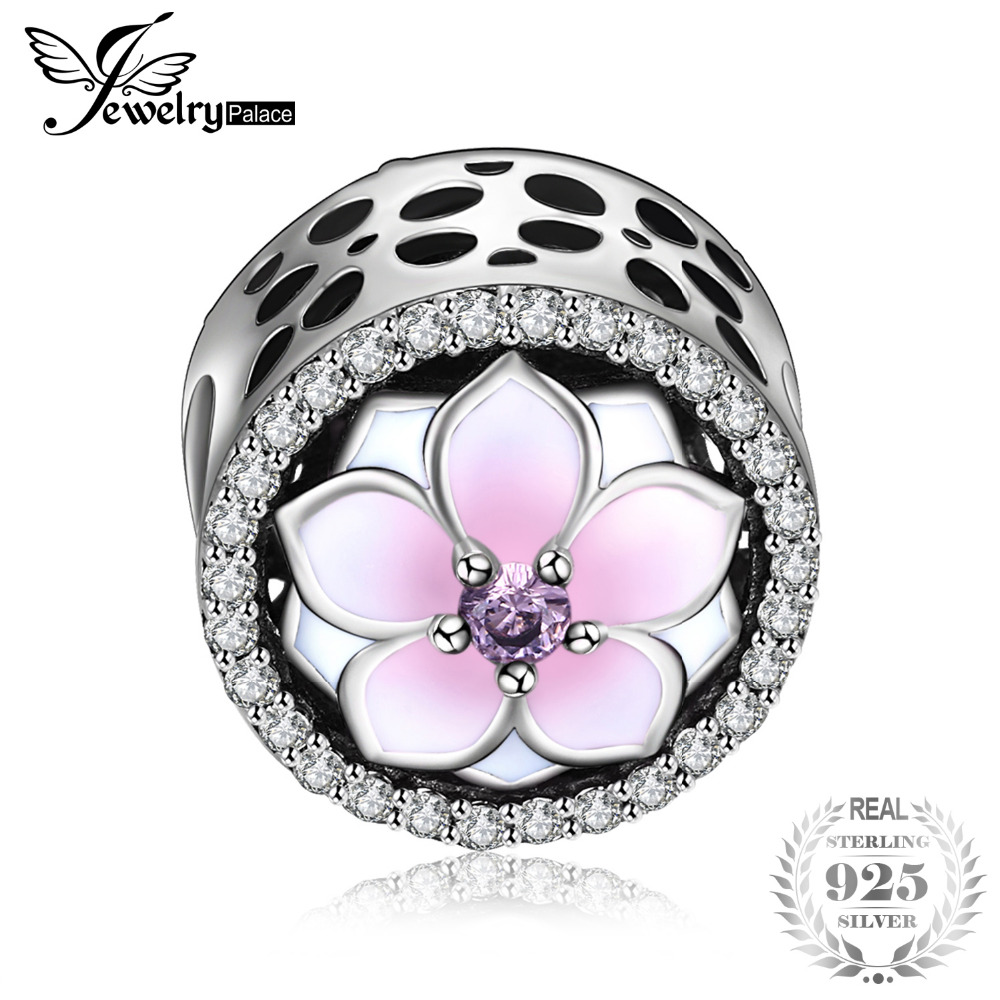 Jewelrypalace 925 Sterling Silver Magnolia Blossom Pink Murano Glass Beads Charms Fit Bracelets Gifts For Her Fashion Jewelry