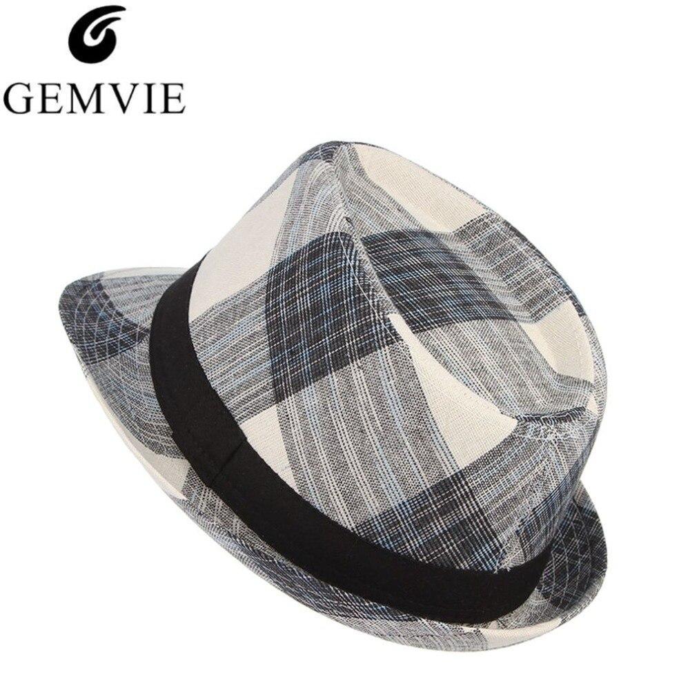 02483f2d8b58d Detail Feedback Questions about Cotton Men Wide Brim Summer Hat Plaid  Fedoras Derby Bowler Hat Male Jazz Gangster Caps Panama Church Hats Chapeau  on ...