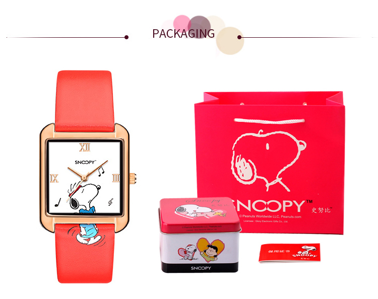 Snoopy Watch Women Watch Fashion Quartz Wristwatches Girls cute Gift Leather clock Genuine Brand gift Waterproof