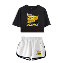 2019 Anime movie Pokemon Detective Pikachu print Leisure Women Two Piece Set Shorts And lovely T-shirts Hot Sale Clothes
