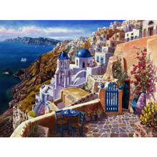 Brand New Diamond Painting Full Square Seaside Castle Embroidery Family Decoration Crafts 30X30cm