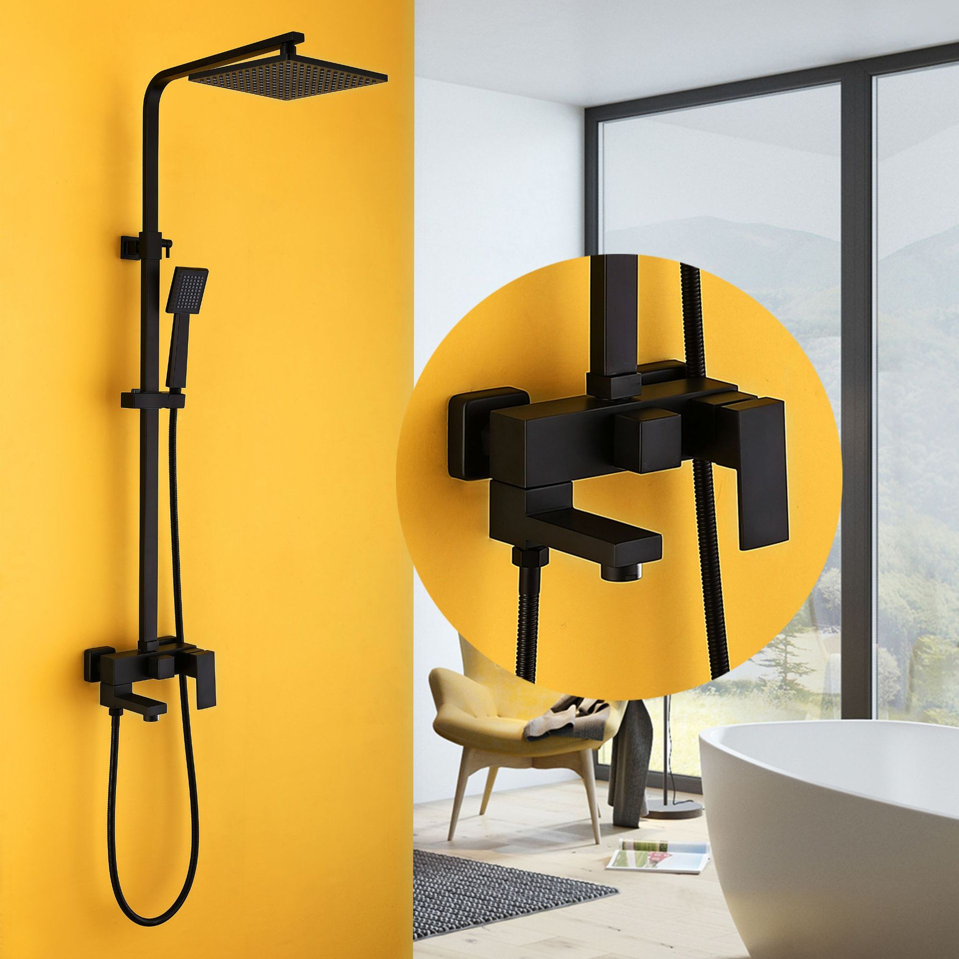 square black painted solid brass wall mounted lifting