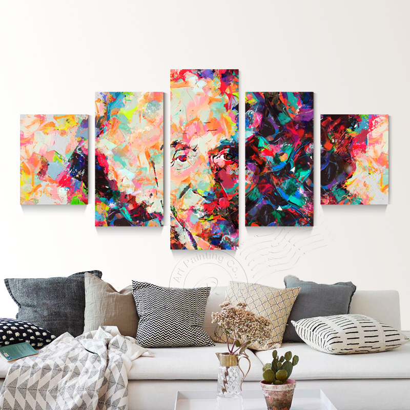 5 panel abstract pop art painting einstein figure painting poster canvas pictures for living - Decor art quadri bari ...