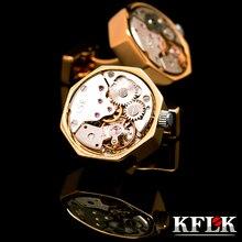 Kflk 2017 botón de puño de la camisa joyería cufflins para hombre marca color oro ver movimiento gemelos alta calidad abotoadura