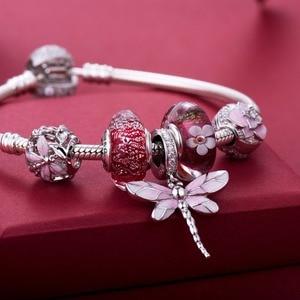 Image 2 - Rosa libélula pingente 925 prata esterlina contas encantos ajuste pulseiras nunca mudar cor DDBJ018 G