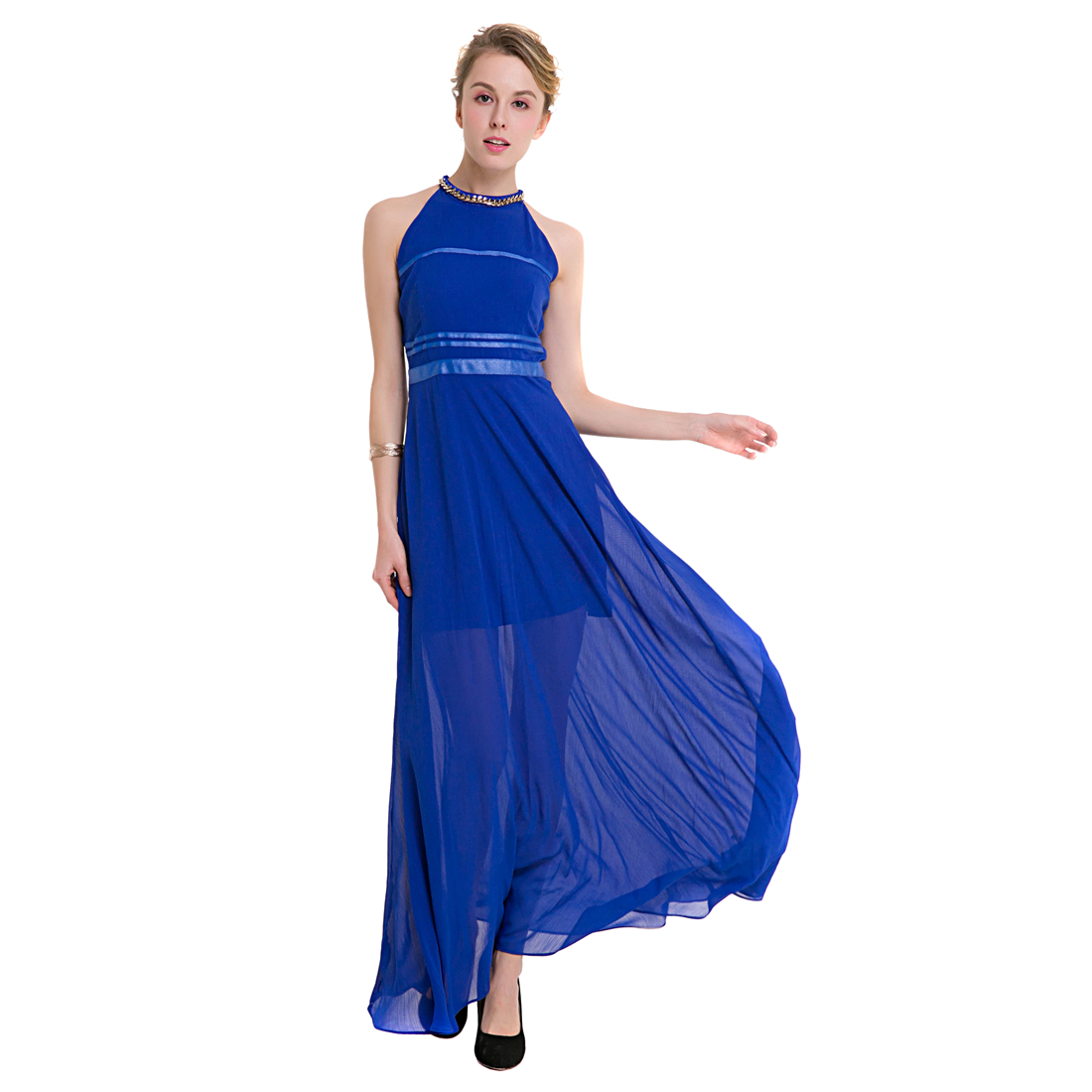 TFGS Original Design Women Elegant Long Chiffon Dress Women Halter Off Shoulder Party Dress Sexy Dresses