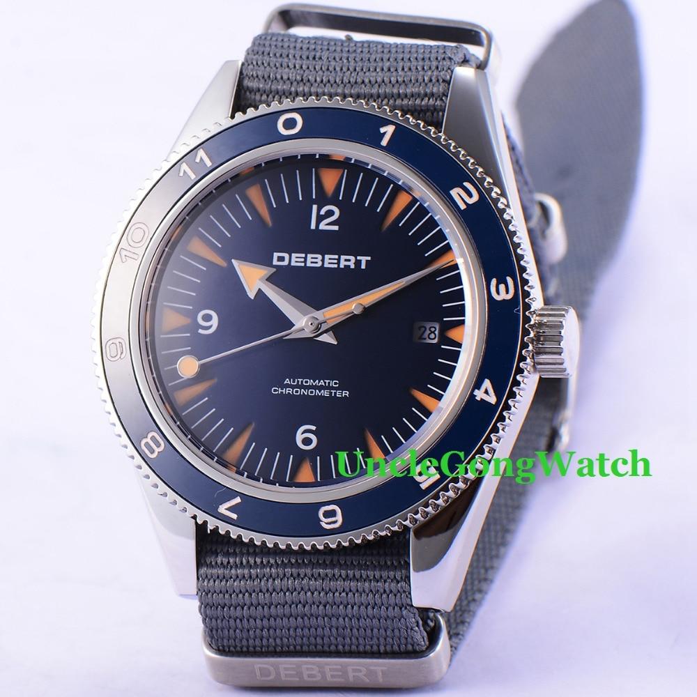 Debert 41mm Sapphire Glass Blue dial Gray Fabric Strap Blue Rotatable Ceramic Bezel Miyota 821A Automatic Men Watch игрушка ecx ruckus gray blue ecx00013t1