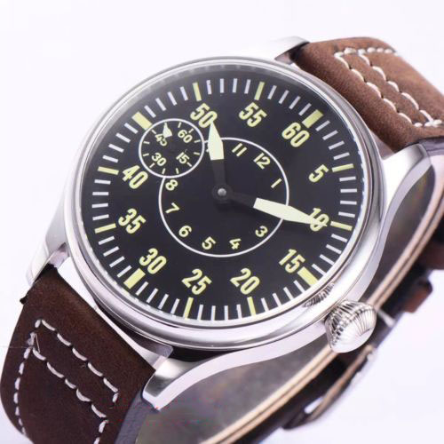 44mm Sterile Dial Solid Case Top Brand Luxury 17 Jewels 6497 Hand Winding Relogio Masculino Stainless steel 2019 New Arrive