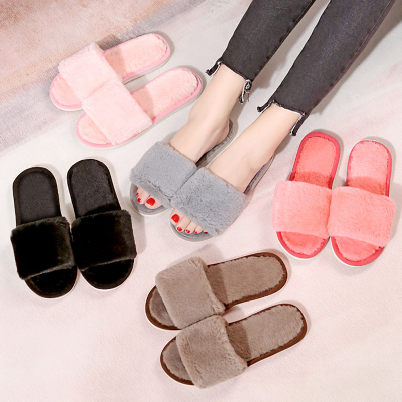 Fur Slipper Foot-Wear Indoor-Shoes Open-Toe Plush Household Winter Woman Warm Short 36-45