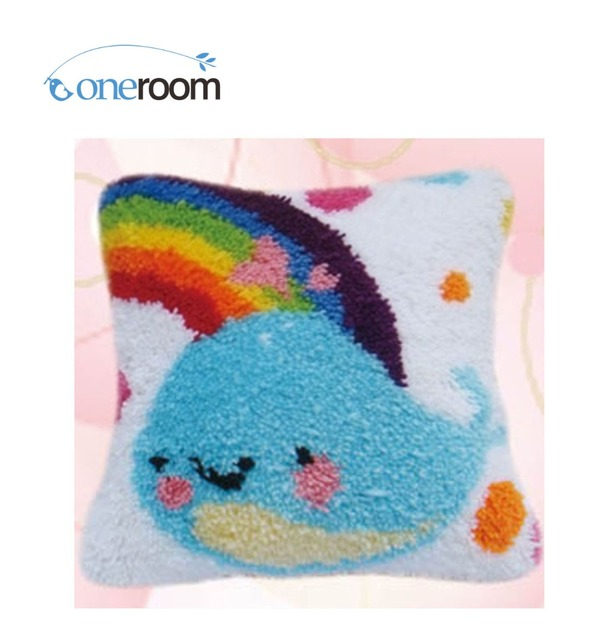 Bz246 Dolphin In Rainbow 5th Hook Rug Kit Pillow Diy Unfinished Crocheting Yarn Mat Latch