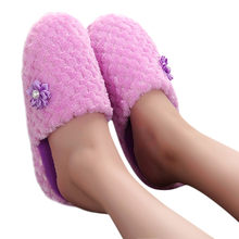Non-slip Soft Winter Warm House Slippers Warm Shoes Solid Indoors Anti-slip Winter House Shoes Flip Flops zapatos de mujer(China)