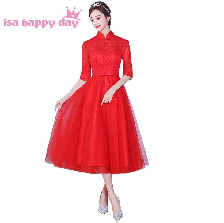 2e51b84592e Yarım kollu kadın zarif kırmızı tee uzunluk dantel resmi günü elbise ...