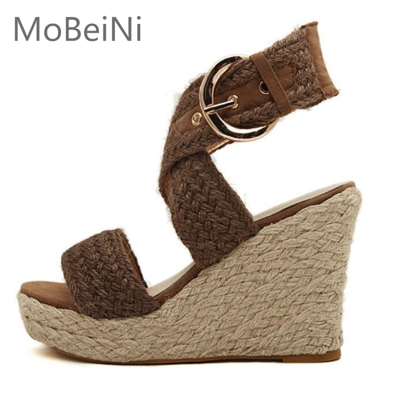 New Women Espadrille Wedge Sandals Summer Roman Bohemian Womens High Heels Wedges Open Toe Sandals Ankle Strap Cross-tied Shoes elegant wedges open toe women sandals ankle buckle rivet shoe women cross tied women casual shoes rome hollowed out lady sandals