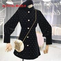 ALPHALMODA Polka Dot Single Breasted Trench Dress Back Zipper High Waist Slim Women Vintage Elegant Velvet Vestidos M L