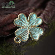 10pcs 13*21mm Alloy Verdigris Patina Plated Four-leaf Clover