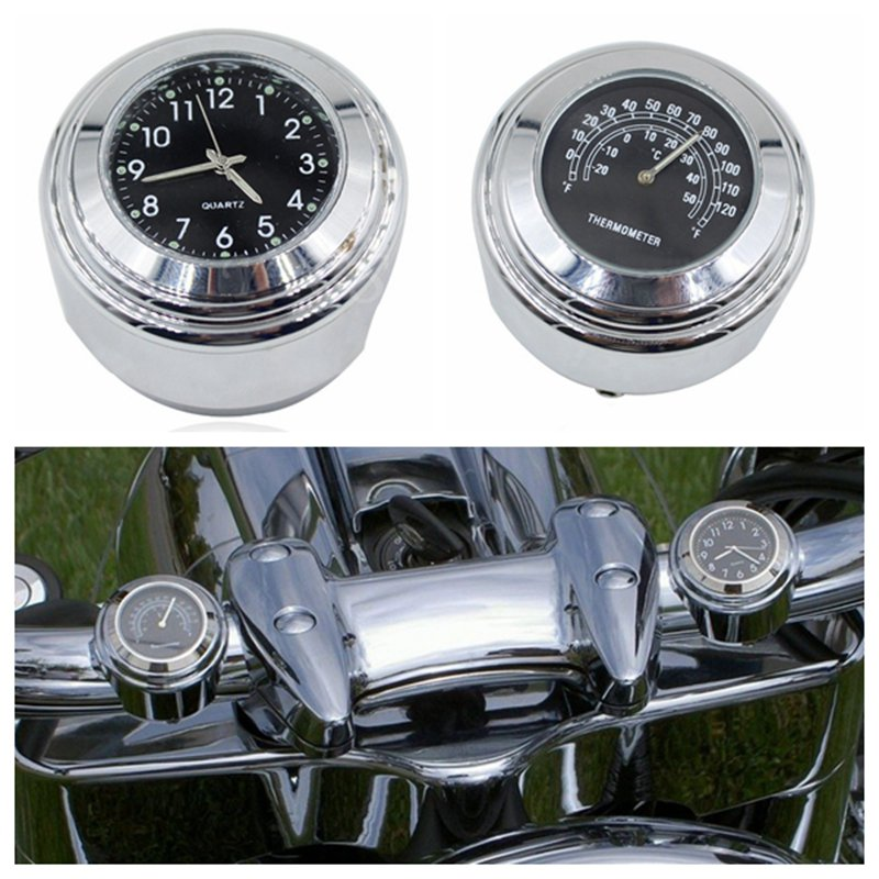 7/8 1 22-25 мм мотоцикл руль черный циферблат часы temp термометр для мотоцикла honda/Harley/ yamaha/kawasaki Алюминий мотоцикл