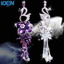 Car Decorations Rearview Mirror font b Interior b font Hanging Pendant Swan Crystal Ornaments White Purple